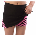 Pizzazz Adult Skirt with Animal Print V-Notch and Animal Print Boy Cut Brief (Size: Small, Color: Black with Hot Pink Zebra)